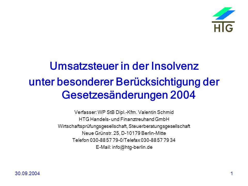 Umsatzsteuer in der Insolvenz