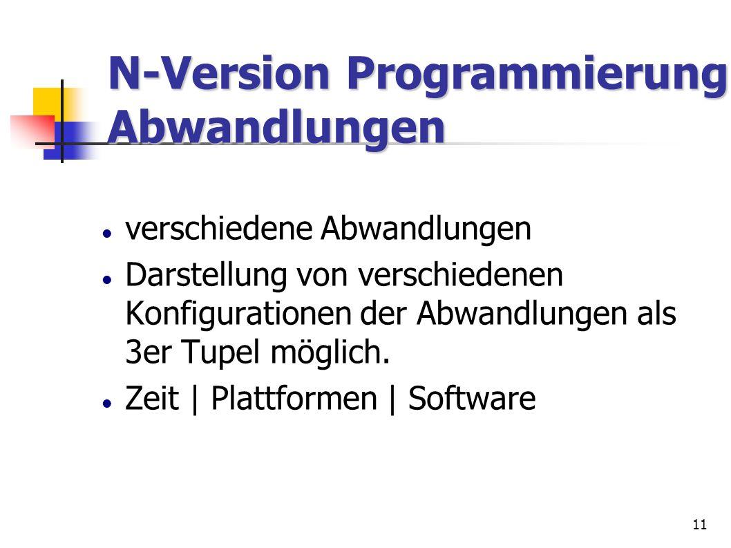 N-Version Programmierung Abwandlungen