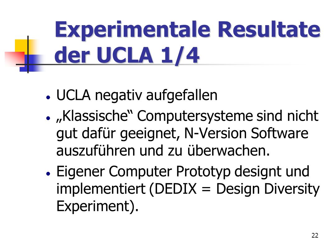Experimentale Resultate der UCLA 1/4