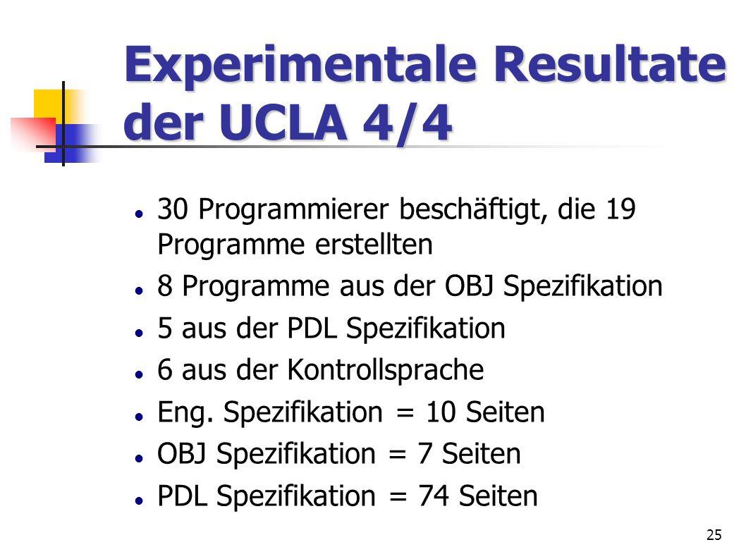 Experimentale Resultate der UCLA 4/4