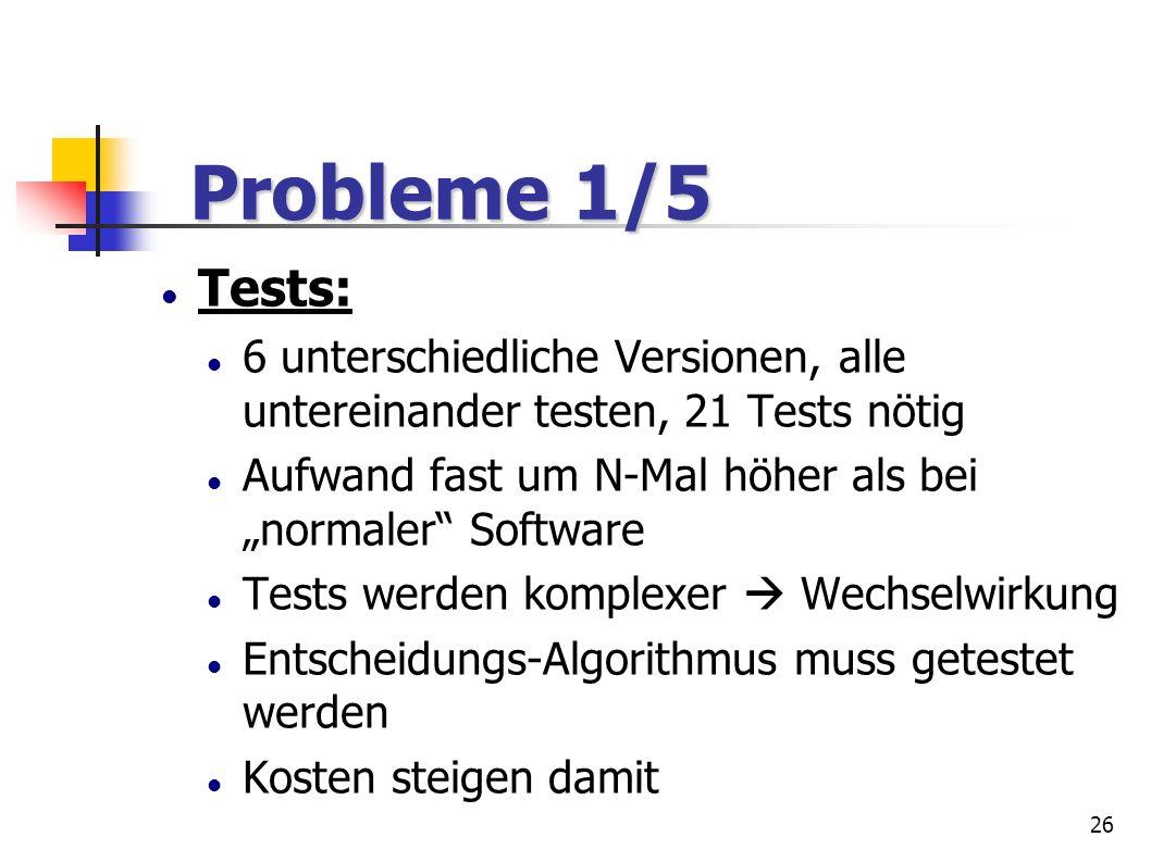 """Probleme 1/5Tests: 6 unterschiedliche Versionen, alle untereinander testen, 21 Tests nötig. Aufwand fast um N-Mal höher als bei """"normaler Software."""