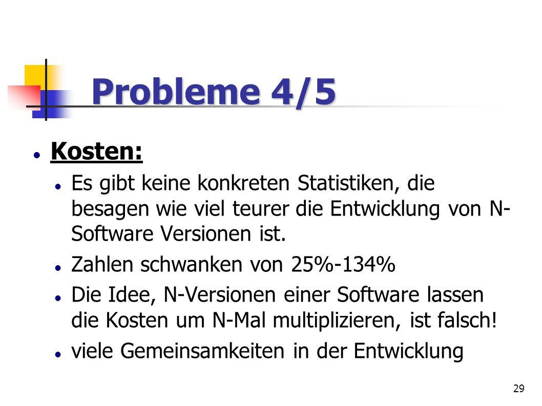 Probleme 4/5 Kosten: Es gibt keine konkreten Statistiken, die besagen wie viel teurer die Entwicklung von N-Software Versionen ist.