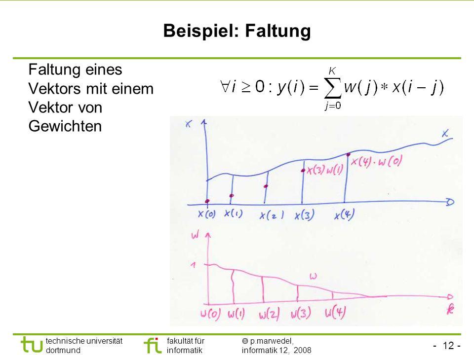 Beispiel: Faltung Faltung eines Vektors mit einem Vektor von Gewichten