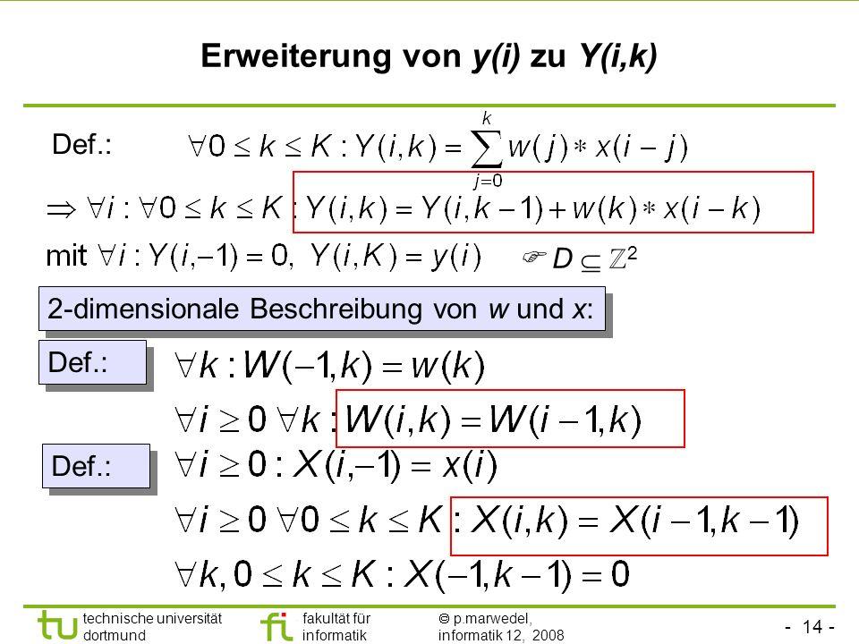 Erweiterung von y(i) zu Y(i,k)