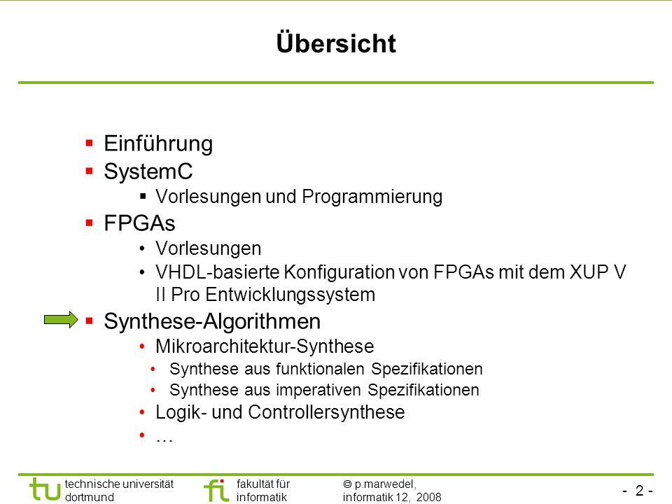 Übersicht Einführung SystemC FPGAs Synthese-Algorithmen