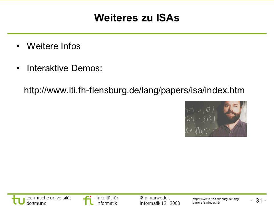 Weiteres zu ISAs Weitere Infos Interaktive Demos: