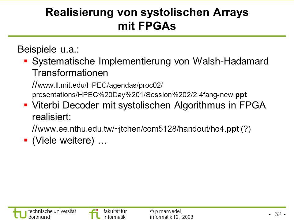 Realisierung von systolischen Arrays mit FPGAs