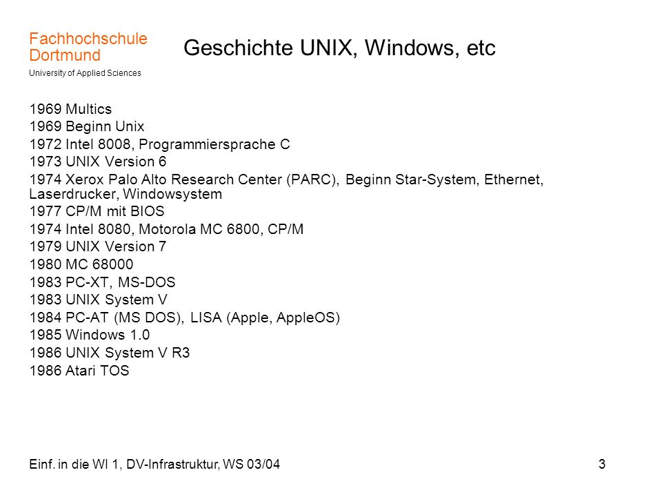 Geschichte UNIX, Windows, etc