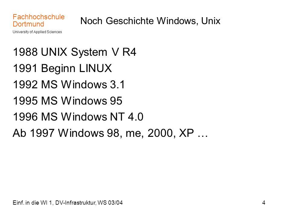 Noch Geschichte Windows, Unix