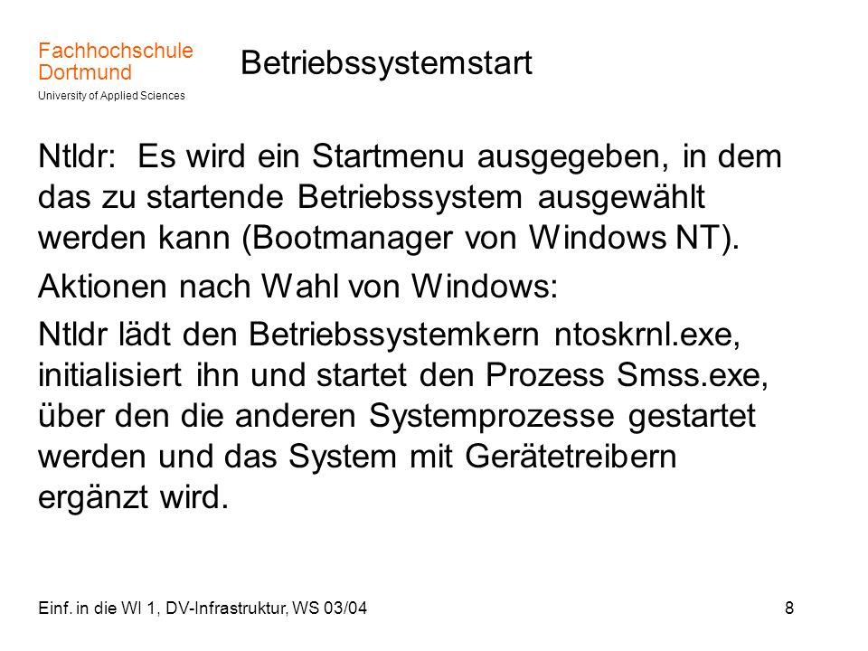 Aktionen nach Wahl von Windows: