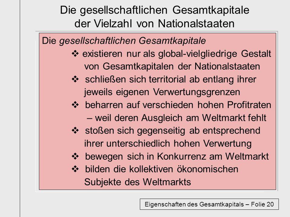 Die gesellschaftlichen Gesamtkapitale der Vielzahl von Nationalstaaten