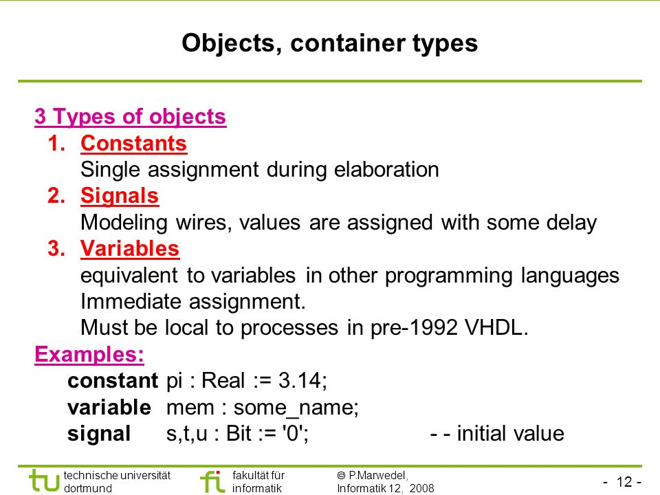 Objects, container types
