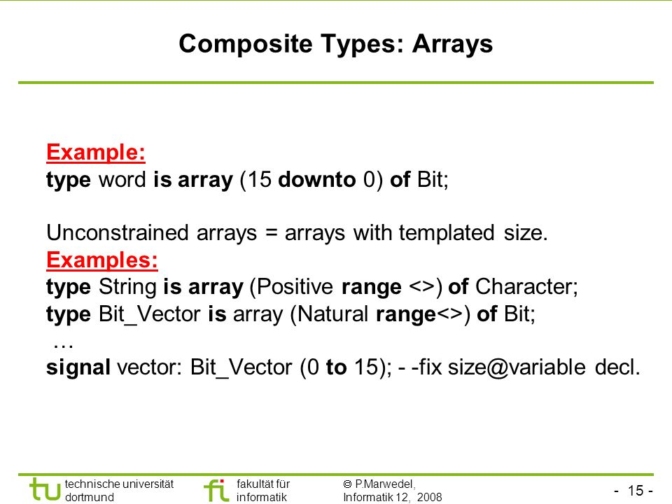 Composite Types: Arrays