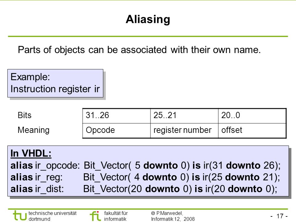 Aliasing Parts of objects can be associated with their own name.
