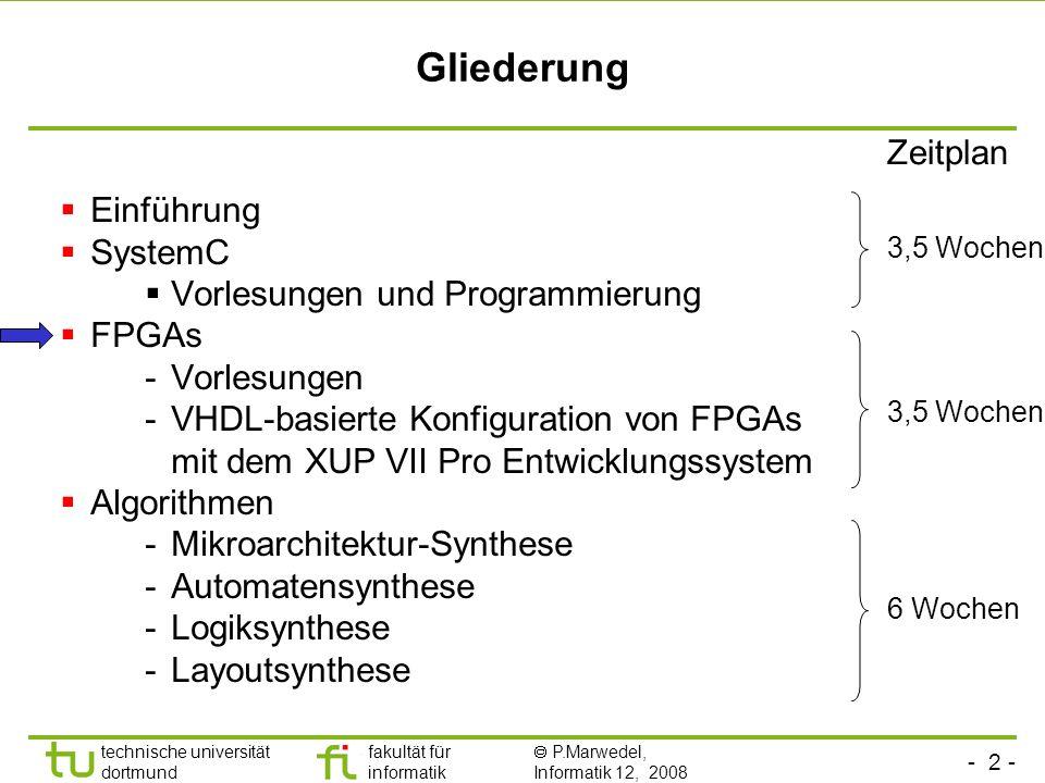Gliederung Zeitplan Einführung SystemC Vorlesungen und Programmierung
