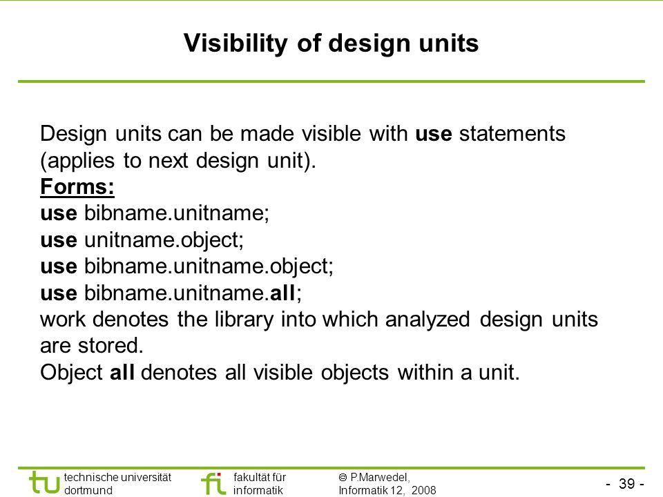Visibility of design units