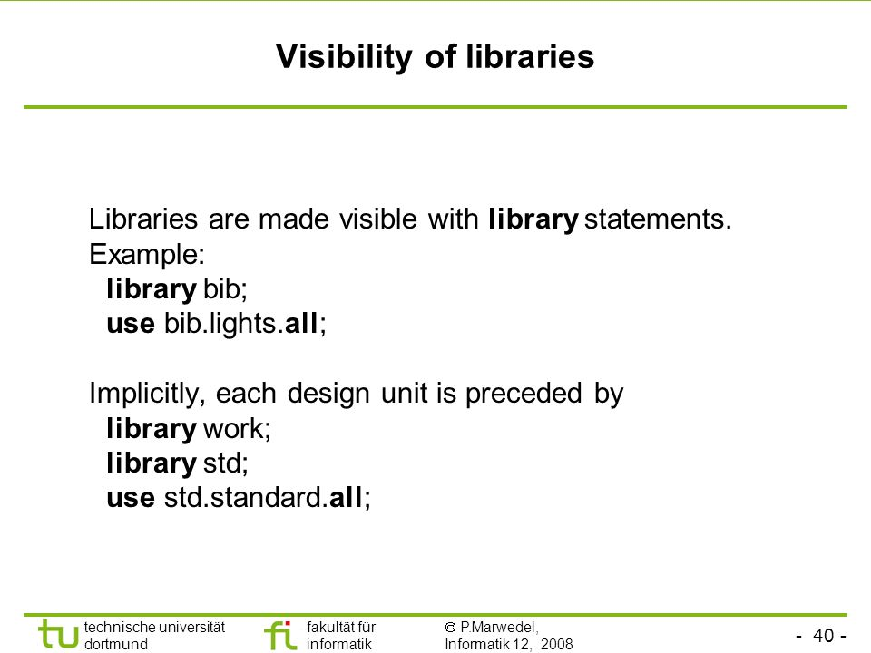 Visibility of libraries