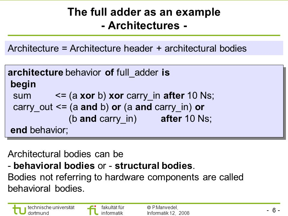 The full adder as an example - Architectures -