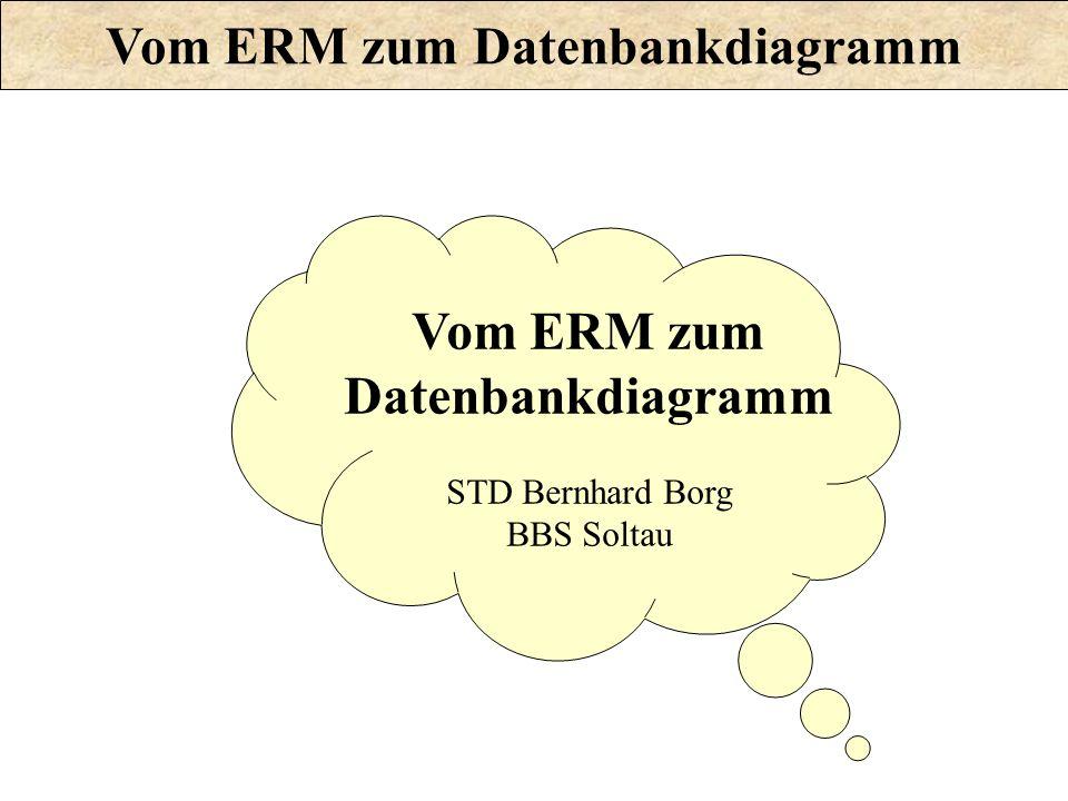 Vom ERM zum Datenbankdiagramm Vom ERM zum Datenbankdiagramm