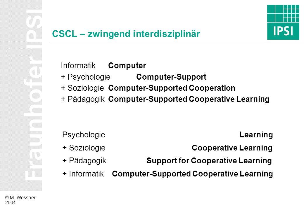 CSCL – zwingend interdisziplinär