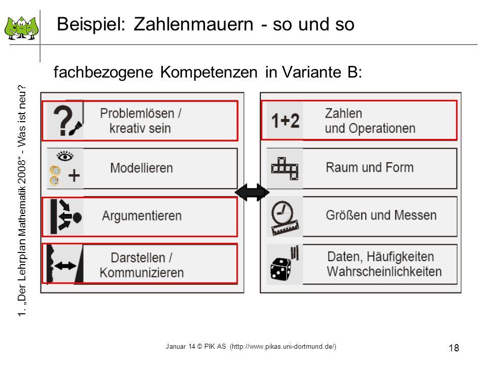 Beispiel: Zahlenmauern - so und so