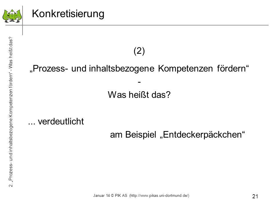 """Konkretisierung (2) """"Prozess- und inhaltsbezogene Kompetenzen fördern"""