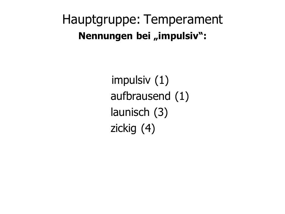 "Hauptgruppe: Temperament Nennungen bei ""impulsiv :"