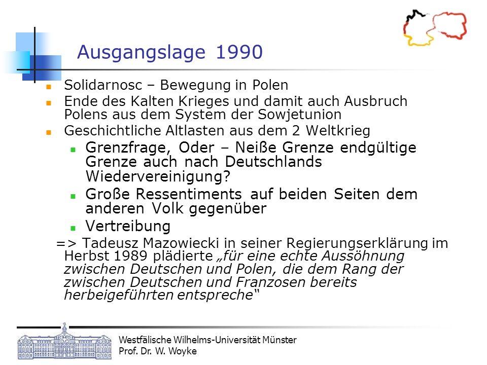 Ausgangslage 1990Solidarnosc – Bewegung in Polen. Ende des Kalten Krieges und damit auch Ausbruch Polens aus dem System der Sowjetunion.