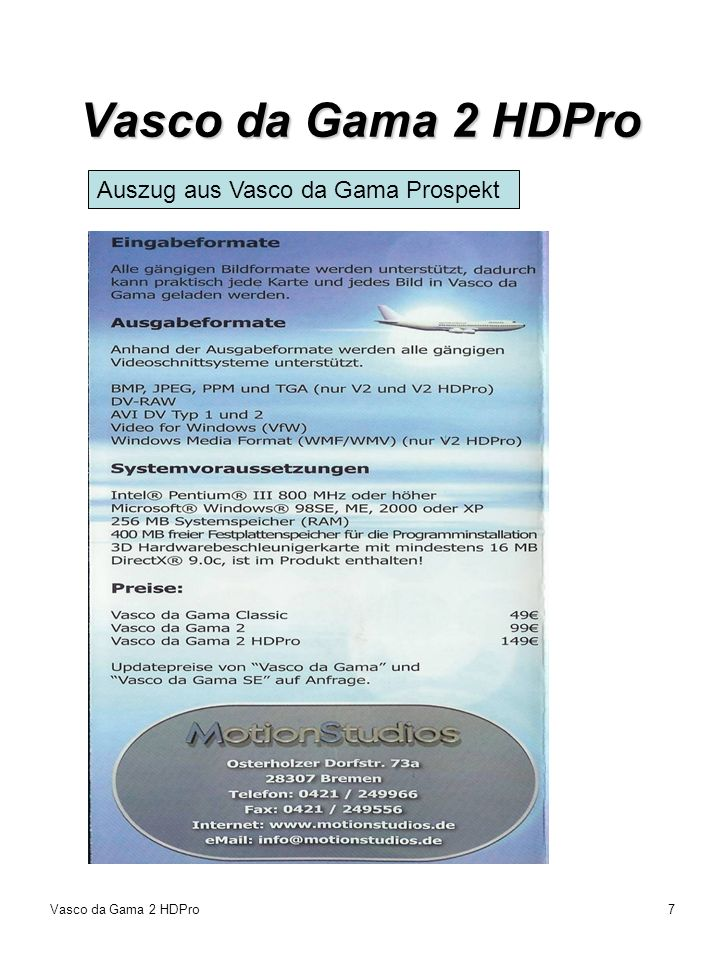 Vasco da Gama 2 HDPro Auszug aus Vasco da Gama Prospekt