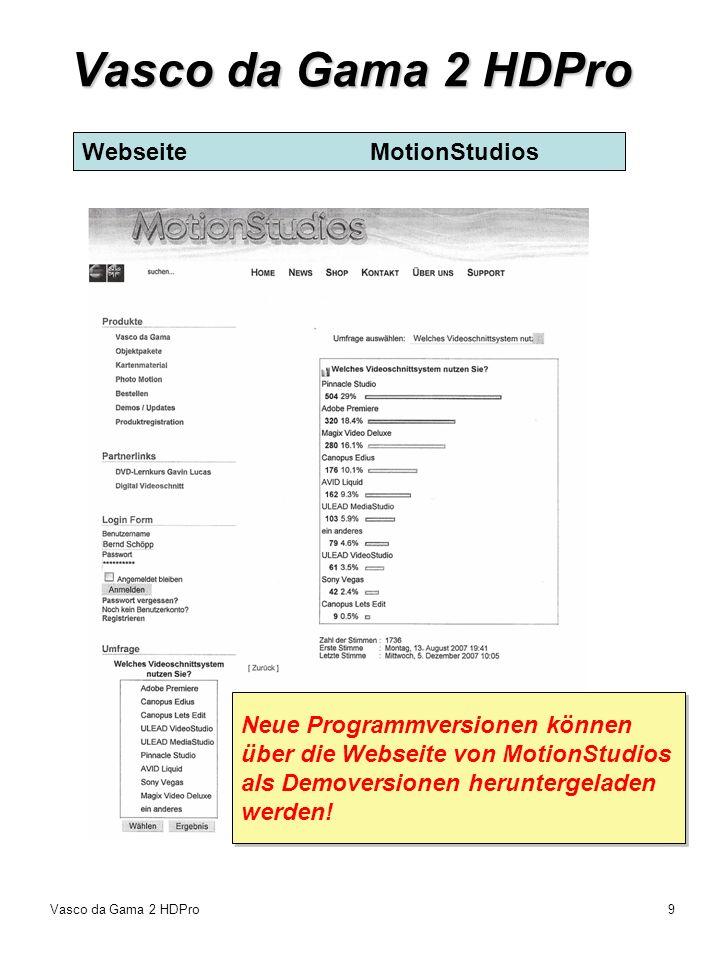 Vasco da Gama 2 HDPro Webseite MotionStudios