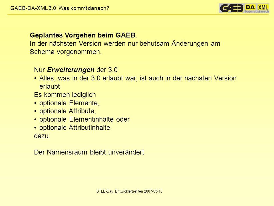 Geplantes Vorgehen beim GAEB: