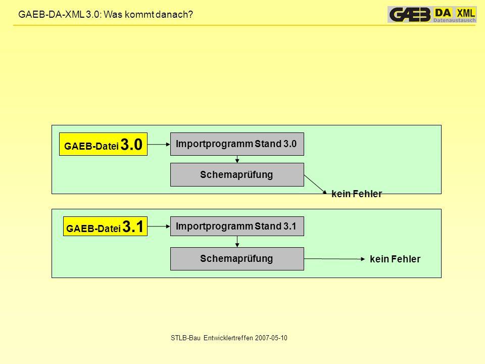 GAEB-Datei 3.0 Importprogramm Stand 3.0 Schemaprüfung kein Fehler
