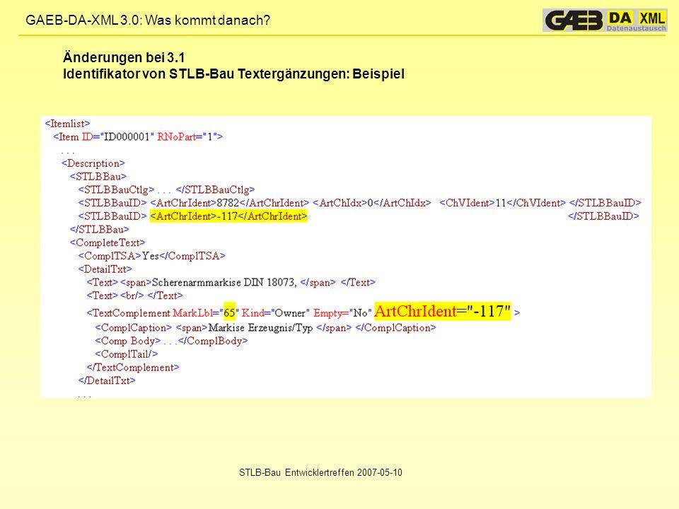 Identifikator von STLB-Bau Textergänzungen: Beispiel