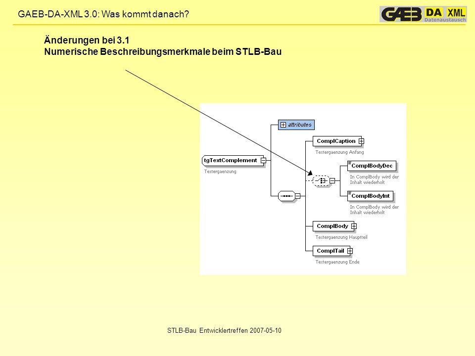 Numerische Beschreibungsmerkmale beim STLB-Bau