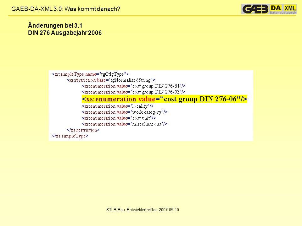 Änderungen bei 3.1 DIN 276 Ausgabejahr 2006