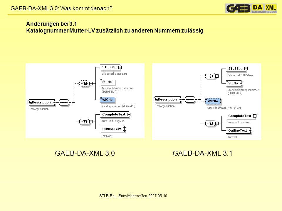 GAEB-DA-XML 3.0 GAEB-DA-XML 3.1 Änderungen bei 3.1
