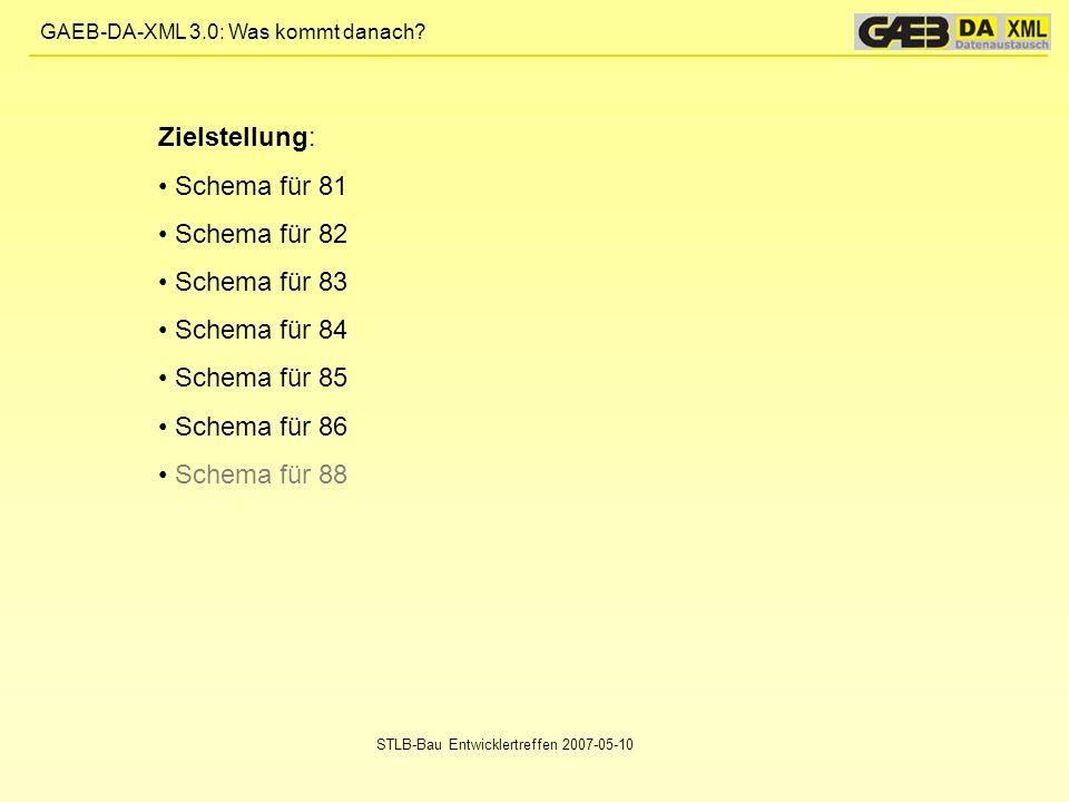 Zielstellung: Schema für 81 Schema für 82 Schema für 83 Schema für 84