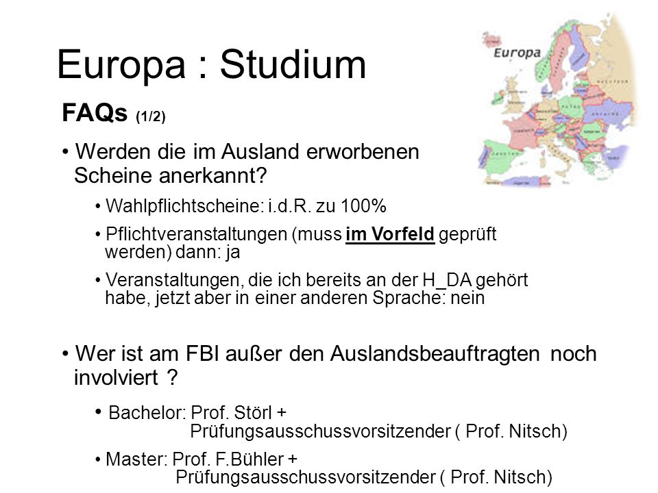 Europa : Studium FAQs (1/2)