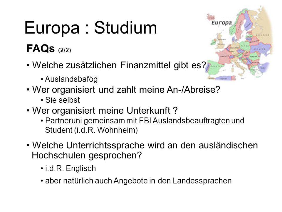 Europa : Studium FAQs (2/2) Welche zusätzlichen Finanzmittel gibt es