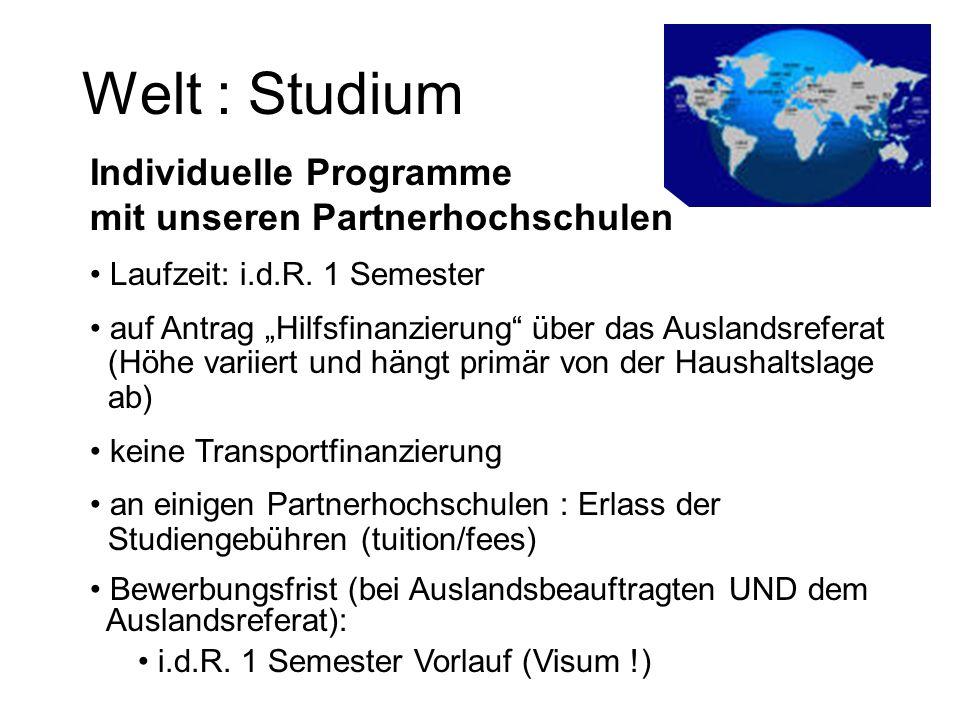 Welt : Studium Individuelle Programme mit unseren Partnerhochschulen