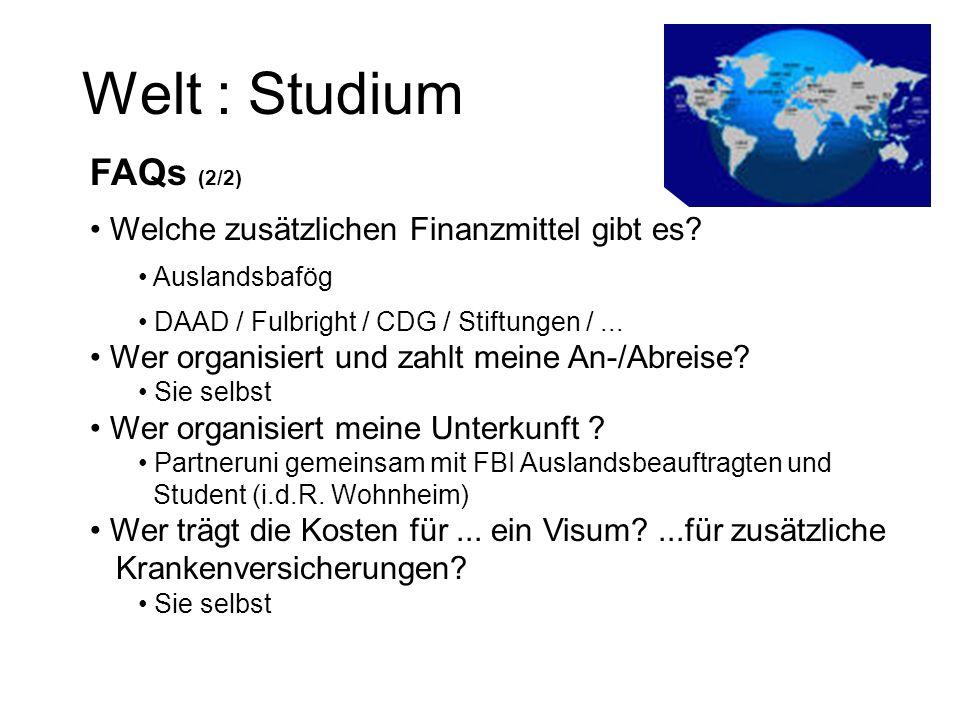 Welt : Studium FAQs (2/2) Welche zusätzlichen Finanzmittel gibt es