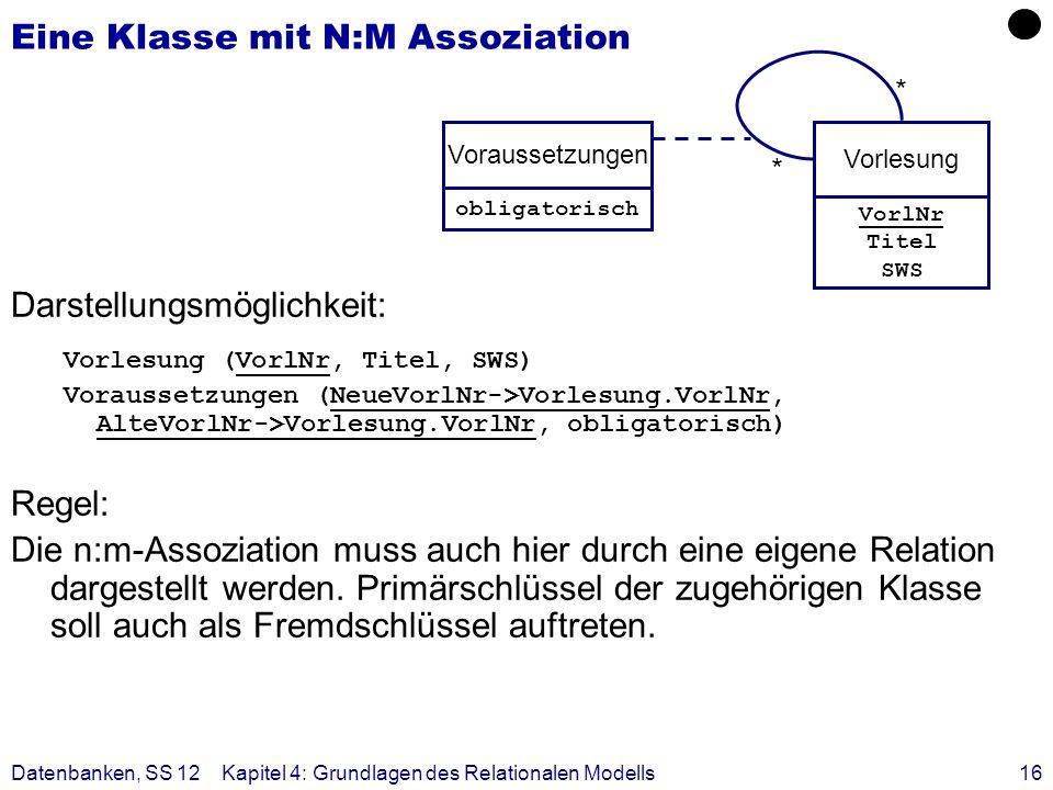 Eine Klasse mit N:M Assoziation