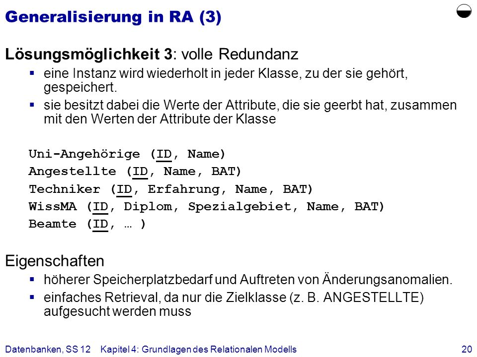 Generalisierung in RA (3)