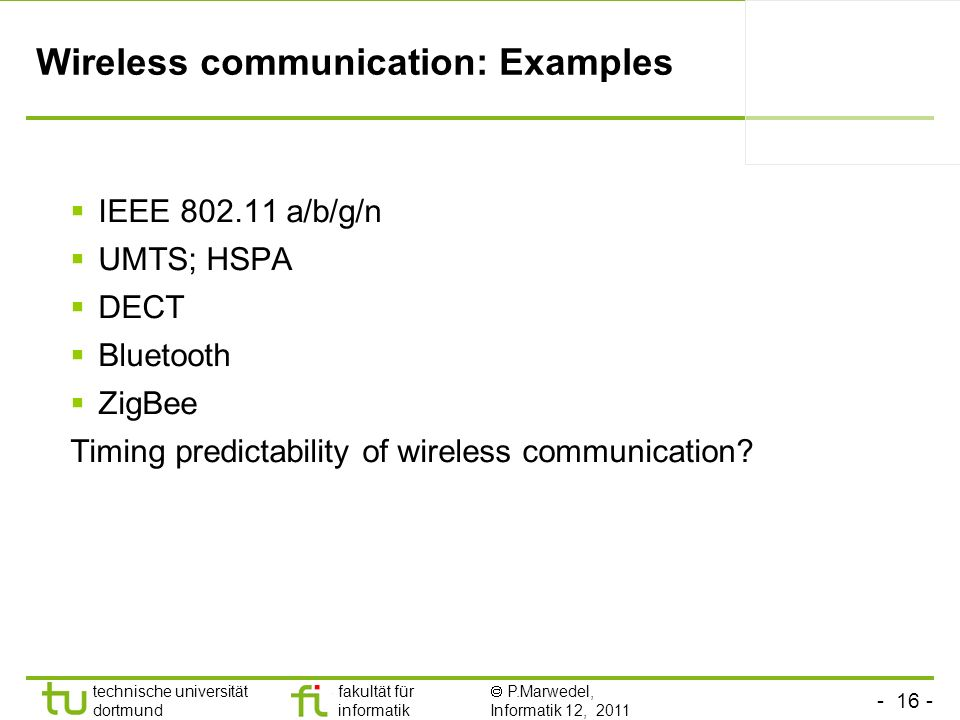 Wireless communication: Examples