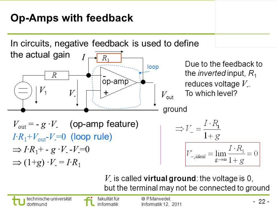 Op-Amps with feedback In circuits, negative feedback is used to define the actual gain. I. R1.