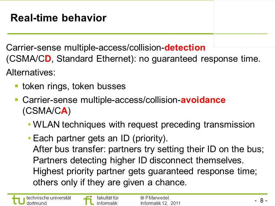 Real-time behaviorCarrier-sense multiple-access/collision-detection (CSMA/CD, Standard Ethernet): no guaranteed response time.