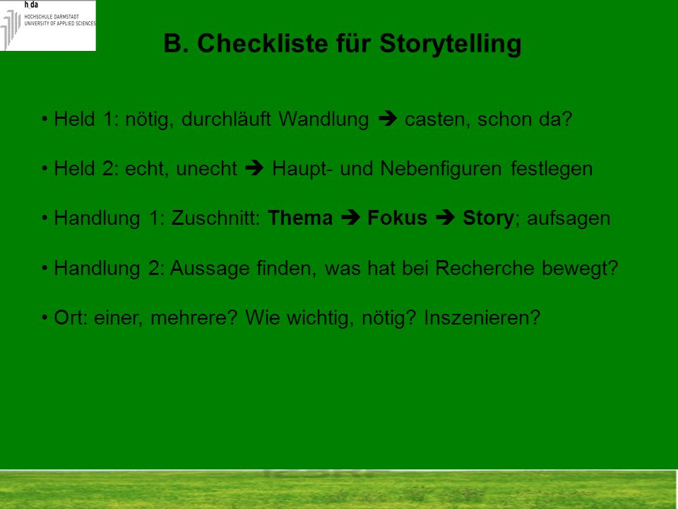 B. Checkliste für Storytelling
