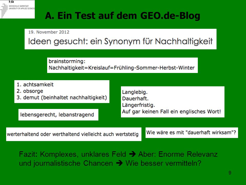 A. Ein Test auf dem GEO.de-Blog