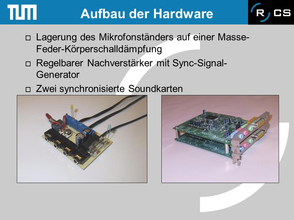 Aufbau der Hardware Lagerung des Mikrofonständers auf einer Masse-Feder-Körperschalldämpfung. Regelbarer Nachverstärker mit Sync-Signal-Generator.