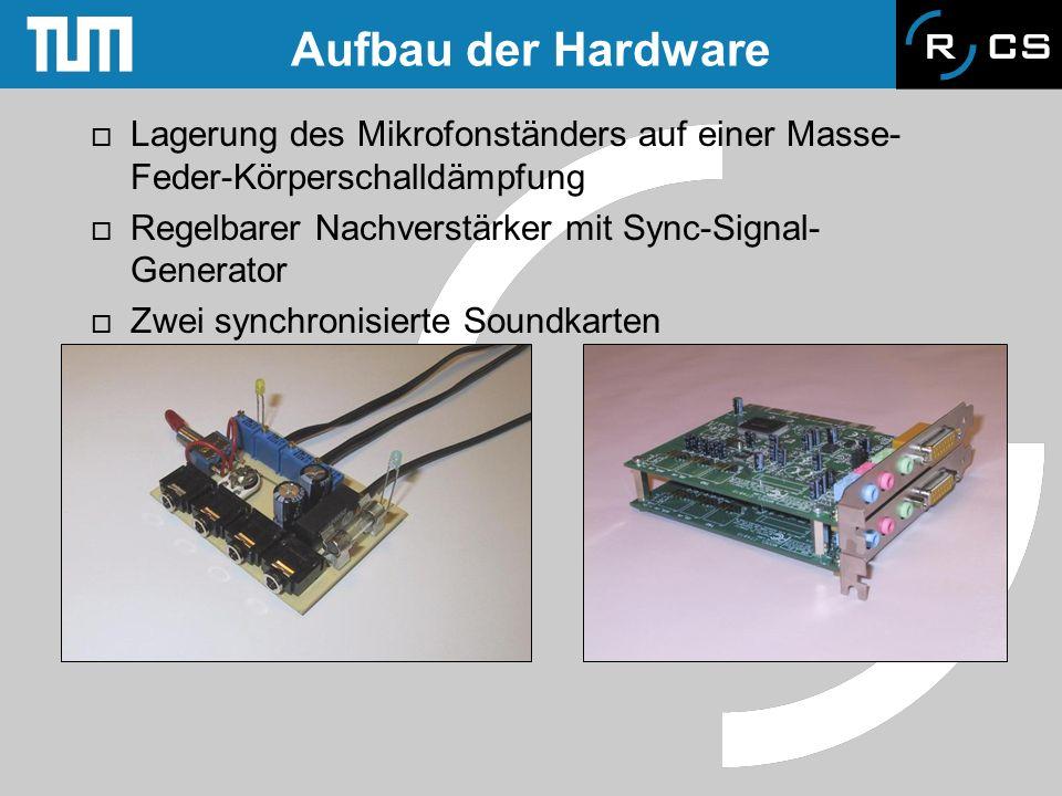 Aufbau der HardwareLagerung des Mikrofonständers auf einer Masse-Feder-Körperschalldämpfung. Regelbarer Nachverstärker mit Sync-Signal-Generator.